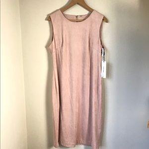 Calvin Klein Faux Suede Sheath Blush Dress